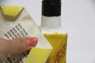 Простой декупаж бутылки для подсолнечного масла