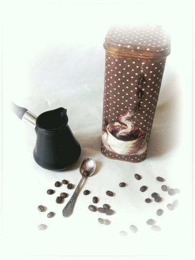 Баночка для кофе. Декупаж. Мастер класс